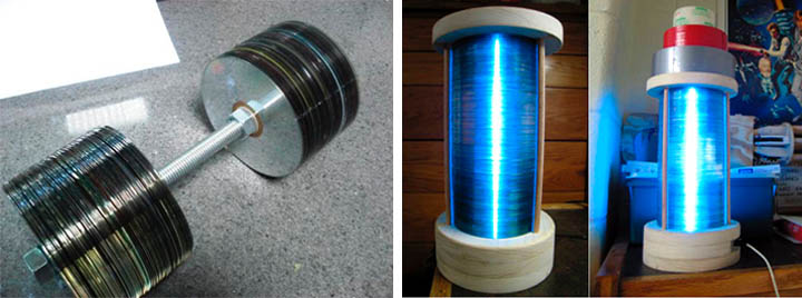 Or you can make an exercise equipment for hamsters (left)... or you can make cool-looking l&s out of CD stacks (right): & Hello there World: The Light Ages: Used CD Art \u0026 the Invisibility Cloak