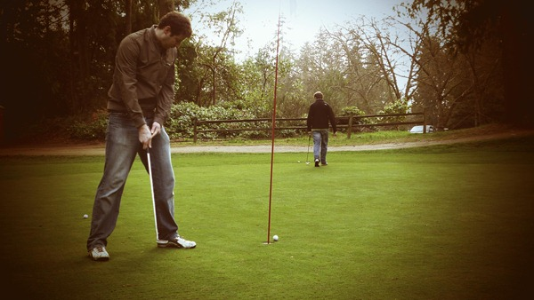 feed and dave golfing