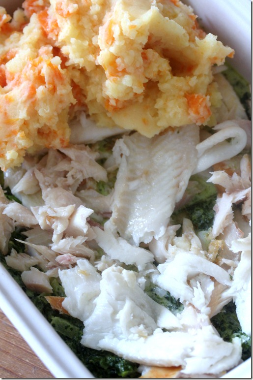 Smoked fish gratin wtih spinach and potato
