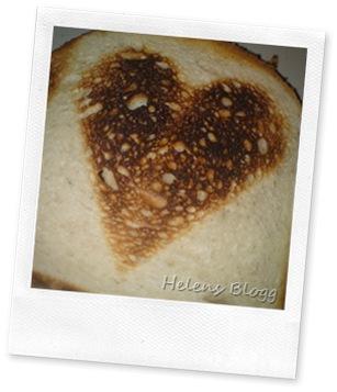 Hjärta på rostad brödskiva
