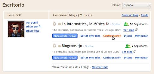 Escritorio de Blogger
