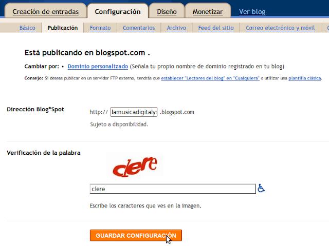 Cambiar URL en Blogger