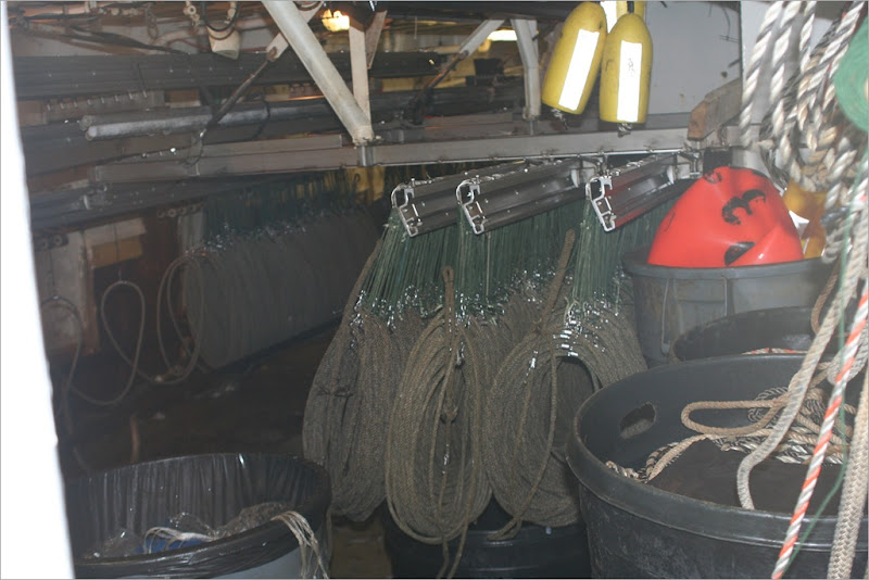 this is where the gear hangs and is stored when not fishing. currently these are being baited and run out the back.