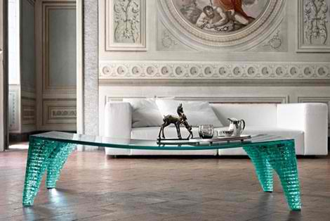 Contemporary Glass Table by Fiam
