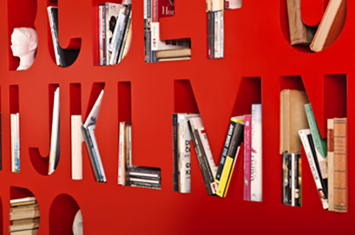 Typographic Bookcase Shelf and Room Divider   Aakkoset by Kayiwa