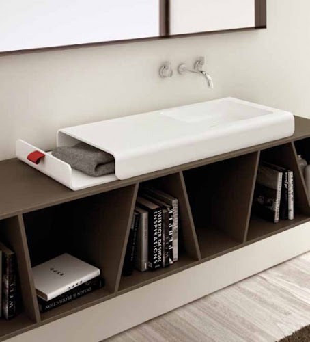 Bathroom Sink With Integrated Storage Compartment   Split by Planit