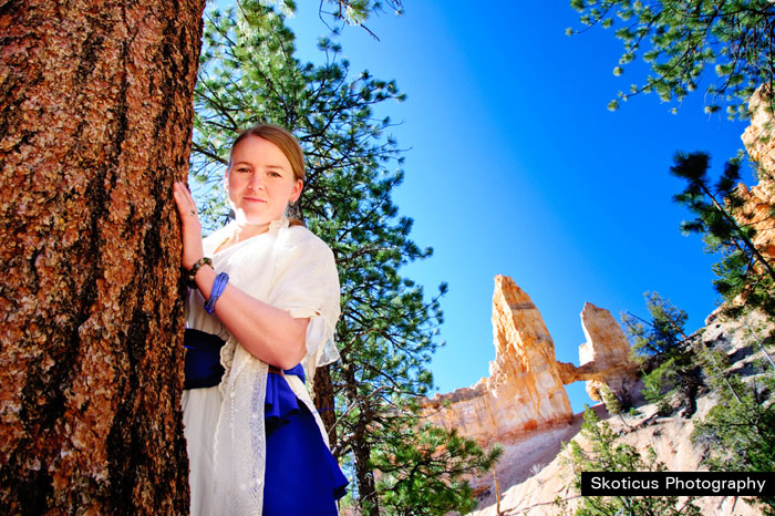 bridal photograph with blue sash tower bridge Bryce canyon