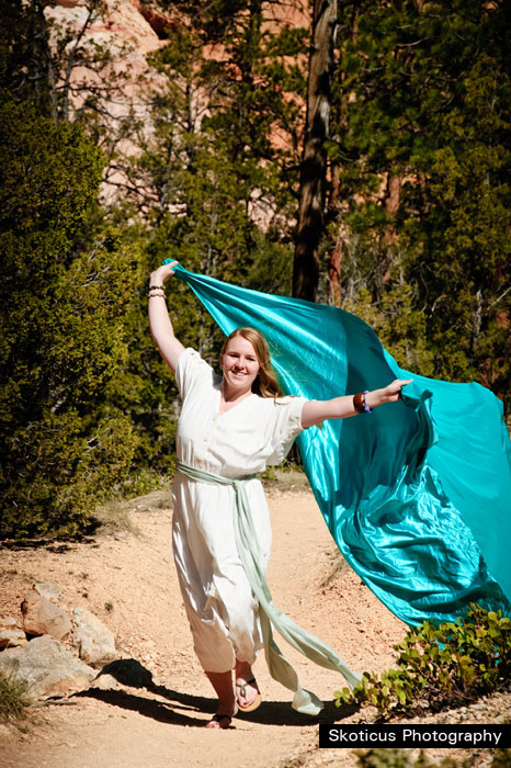 bridal dance photography green turquoise sash