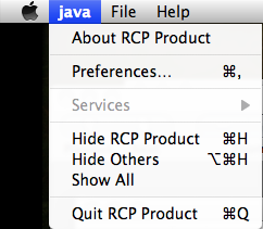 RCP Mac Application Menu