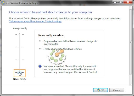 การกำหนดระดับการทำงานของ UAC (User Account Control) ใน Windows 7 Uac7