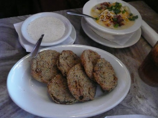 Fried green tomatos and potato soup
