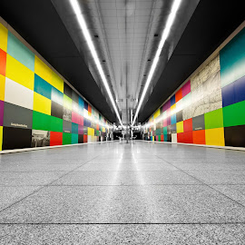 Georg-Brauchle-Ring subway station in Munich, Germany by Péter Mocsonoky - Buildings & Architecture Architectural Detail ( stop, interior, tube, colorful, ubahn, yellow, transportation, architecture, travel, wait, city, modern, colour, munich, munchen, colourful, subway, transport, empty, train, germany, light, bahn, orange, station, metro, art, german, tourism, traffic, red, color, blue, contemporary, town, underground, public )