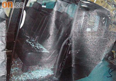 簡太座駕玻璃碎撒滿車內保安卻對爆竊事件一無所知
