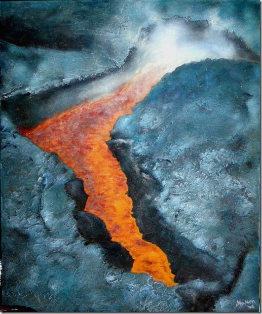 ira natura - collage óleo y arenas 60x73 sobre lienzo 2006