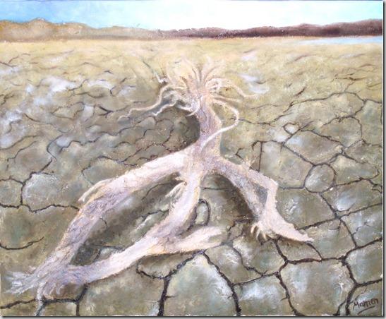 sequía pantano del Rosarito AVILA- collage arenas óleo sobre lienzo