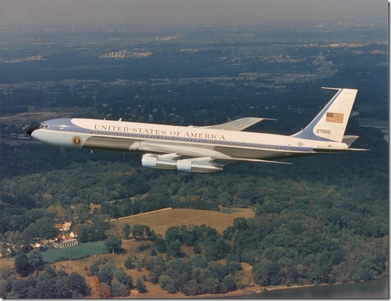 Air Force One over Mount Vernon.