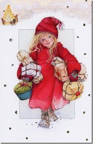 Petite fille avec cadeaux