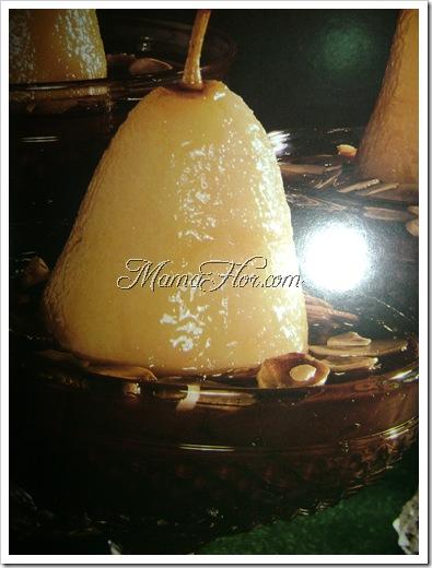Peras con crema de chocolate