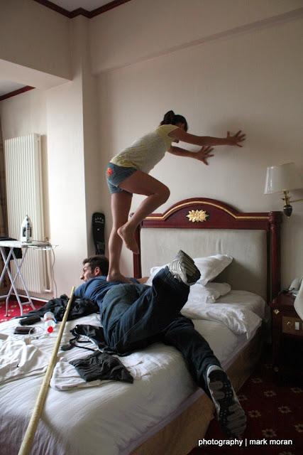 Lauren giving Shahaub a massage