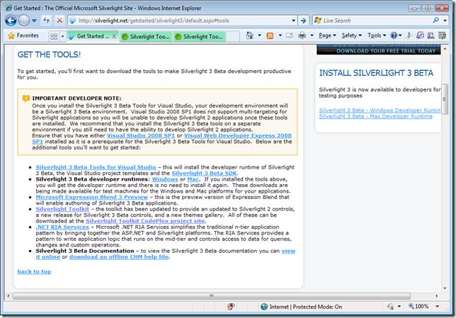 http://silverlight.net/getstarted/silverlight3/default.aspx#tools