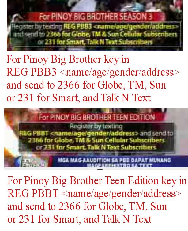 pbb season 3 text audition, text mechanics