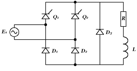 Thyristor Single Phase Bridge Rectifier on dc resistive circuit diagram