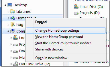 disable homegroup password windows 7