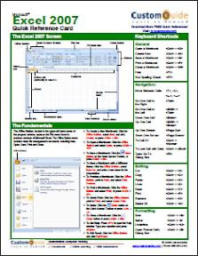 Microsoft Excel 2007 Cheat Sheet