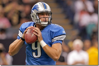 2009 September 13: Detroit Lions quarterback Matthew Stafford (9) looks to pass during a 45-27 win by the New Orleans Saints over the Detroit Lions at the Louisiana Superdome in New Orleans, Louisiana.