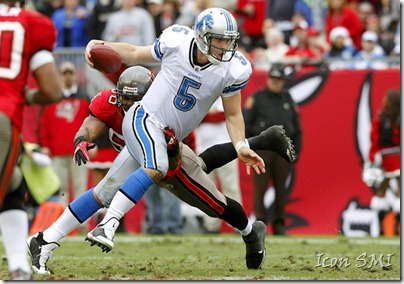 19 DEC 2010:  Drew Stanton (5) of the Lions gets away from Dekoda Watson (56) of the Buccaneers during the game between the Detroit Lions and the Tampa Bay Buccaneers at Raymond James Stadium in Tampa, FL.