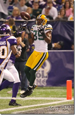 21 November 2010: Green Bay Packers wide receiver Greg Jennings (85) makes a reception for a Green Bay Packers touchdown.  The Green Bay Packers defeated the Minnesota Vikings by a score of 31 to 3 at Mall of America Field, Minneapolis, MN.  &#10;