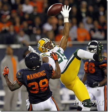 27 September 2010: Green Bay Packers WR, Greg Jennings(85) leaps but can't catch an Aaron Rodgers pass during their 20-17 loss to the Chicago Bears at Soldier Field in Chicago, Illinois