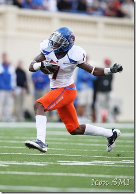 16 October 2010: Boise State Broncos wide receiver Titus Young (1) runs for the end zone as the Broncos lead the Spartans 41-0 at the half at Spartan Stadium in San Jose, California ***FOR EDITORIAL USE ONLY****