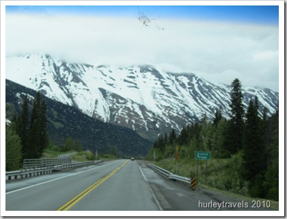 Here's a bug-splattered, rainy road view of the Seward Highway