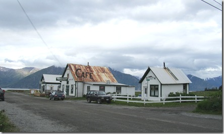 Hope Main Street, Sea View Bar, Cafe and a home.  Alaskan Range and Cook Inlet as backdrop. Hurley visit, June 2010