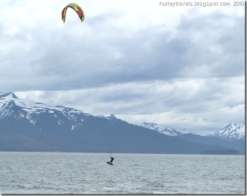 Windsurfer makes an exciting jump in our front yard on the Homer Spit, AK