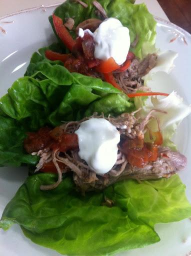 pork and red pepper lettuce wraps