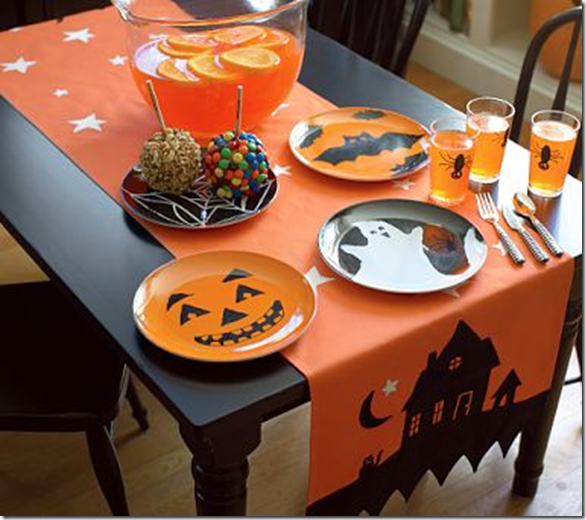 Halloween Table Cloth a spooky blog for spooky people ive always loved this table cloth halloween halloweendecorations costumes halloweencostumes pumkpins halloweencandy This Table Runner Is Just Like That Table Cloth I Have Just The Place To Put It I Think That I Can Even Get Away Without Having To Sew One Stitch