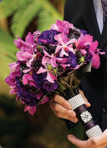 Magenta mokara orchids, purple lisianthus and scabiosa. Nisie's Enchanted Florist, grace ormand