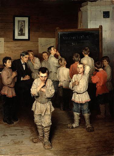 quadro do artista Nikolai  Petrovich BOGDANOV-BELSKY , potências e curiosidades , um problema  difícil