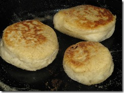 sourdough english muffin cooking