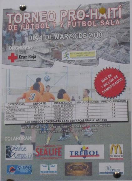 Cartel publicitario del torneo pro-haiti de futbol 7 y futbol sala