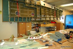 DAMAGED AIRCRAFT PARTS ON THE TABLE