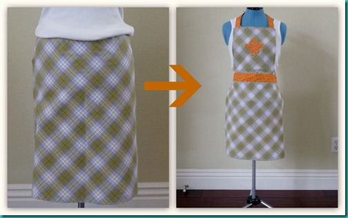 Old skirt to apron