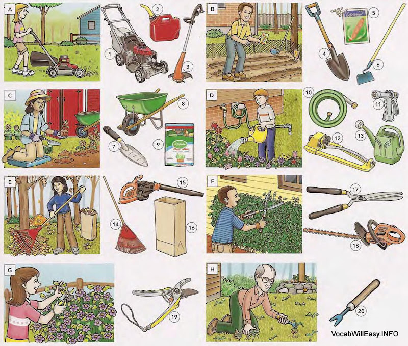Gardening tools and home supplies online dictionary for kids for Home and garden equipment