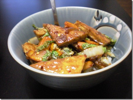 "This is lime chili Tofu from Vegan Yum Yum. The ""dry frying"" method is my new favorite way to make tofu. DO IT. This is also carrots and savoy cabbage, recognize."