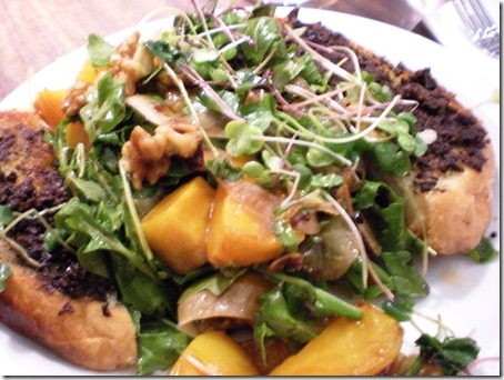 roasted golden beet salad with toast and olive tapenade