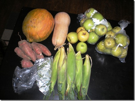 Casaba melon, butternut squash, apples, pears, corn, haricot verts, sweet potatoes