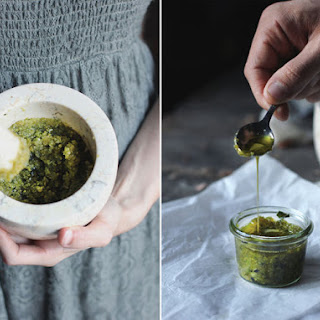 Classic Pistachio Pesto, and variations with herbs
