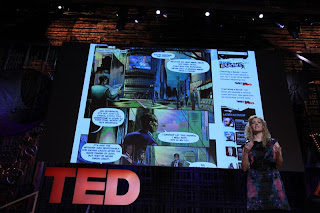 A photo of Jane McGonigal taken during one of her presentations